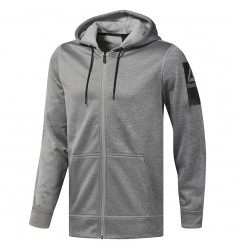 REEBOK HOODY WOR POLY FREECE FZ HOODIE MEDIUM GREY HEATHER